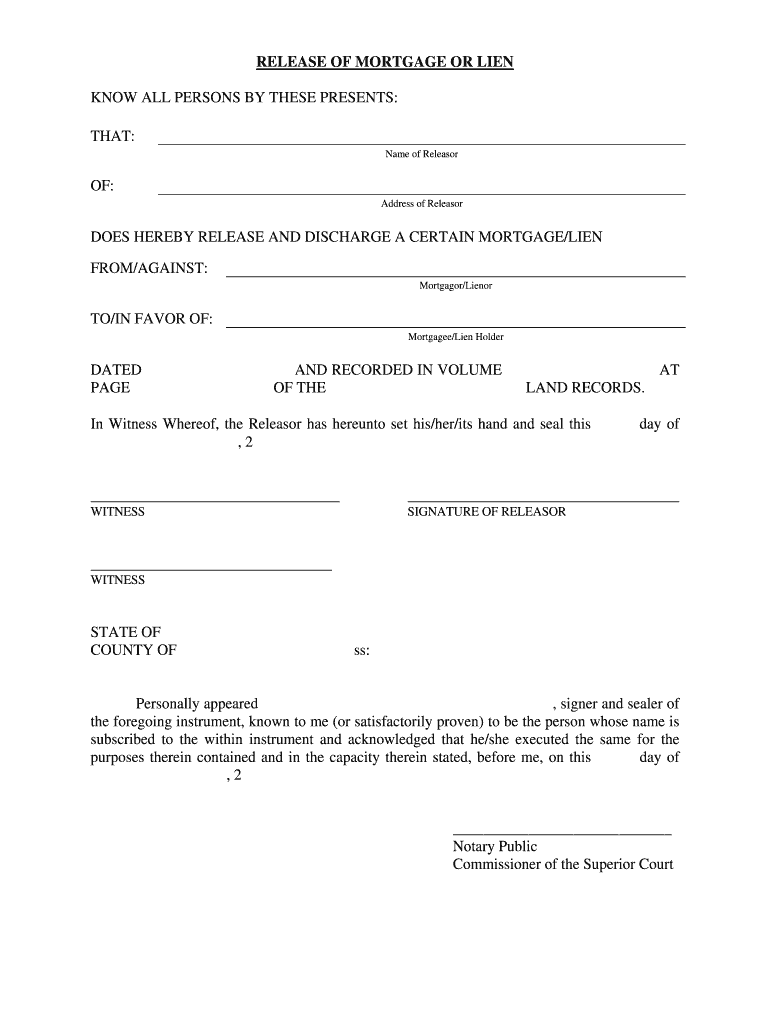 Ct Release Of Lien - Fill Online, Printable, Fillable, Blank