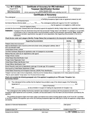 Form W 7 Coa - Fill Online, Printable, Fillable, Blank   PDFfiller