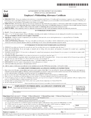 D4 Dc Employee Withholding Form Fill Out Online