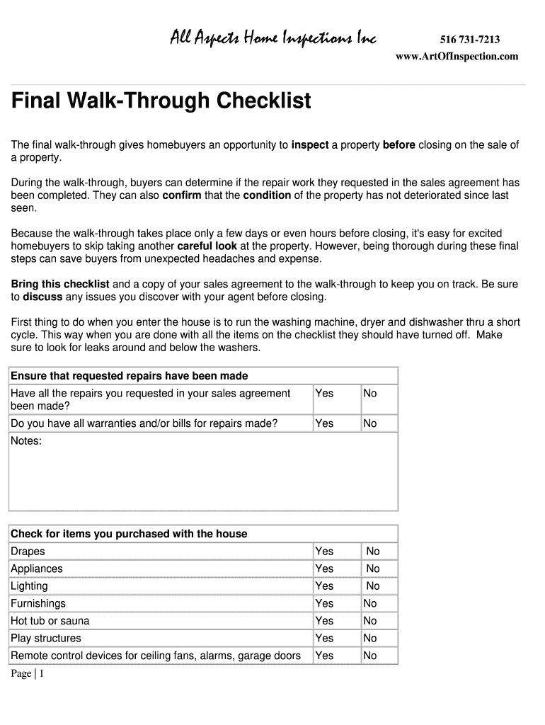 Final Walk Through Checklist Form