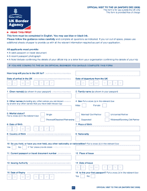 Uk Visa Form - Fill Online, Printable, Fillable, Blank | PDFfiller