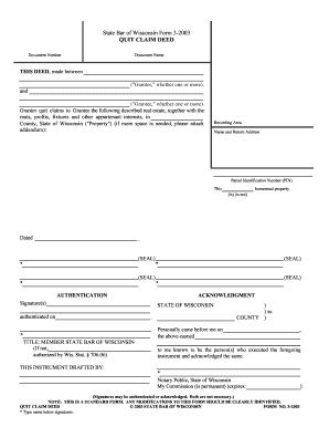 quit claim deed form wisconsin  State Bar Of Wisconsin Form 9 2009 - Fill Online, Printable ...