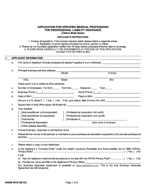 specified medical professions application form