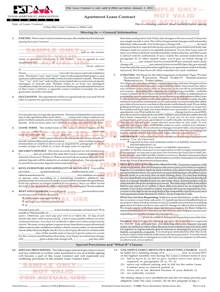 Standard Texas Apartment Lease Fill Online Printable