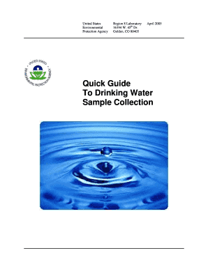 Quick Guide To Drinking Water Sample Collection