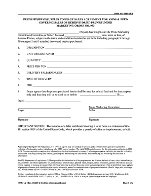 Reserve Sales Agreement for Animal Feed Form PMC-420 pdf - ams usda