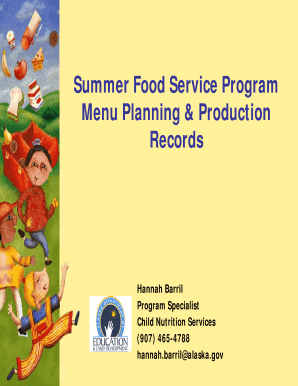Summer Food Service Program Menu Planning & Production Records