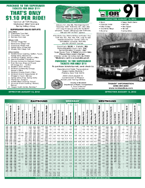 Tor Bus Schedule 91 - Fill Online, Printable, Fillable, Blank