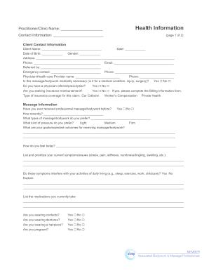 Massage Client Information - Fill Online, Printable, Fillable ...