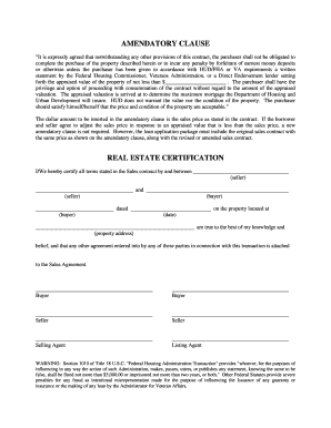 Amendatory Clause Form - Fill Online, Printable, Fillable, Blank ...