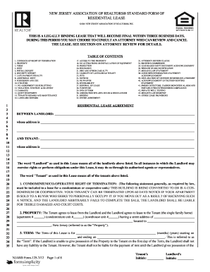 New Jersey Realtors Standard Form Of Residential Lease ...