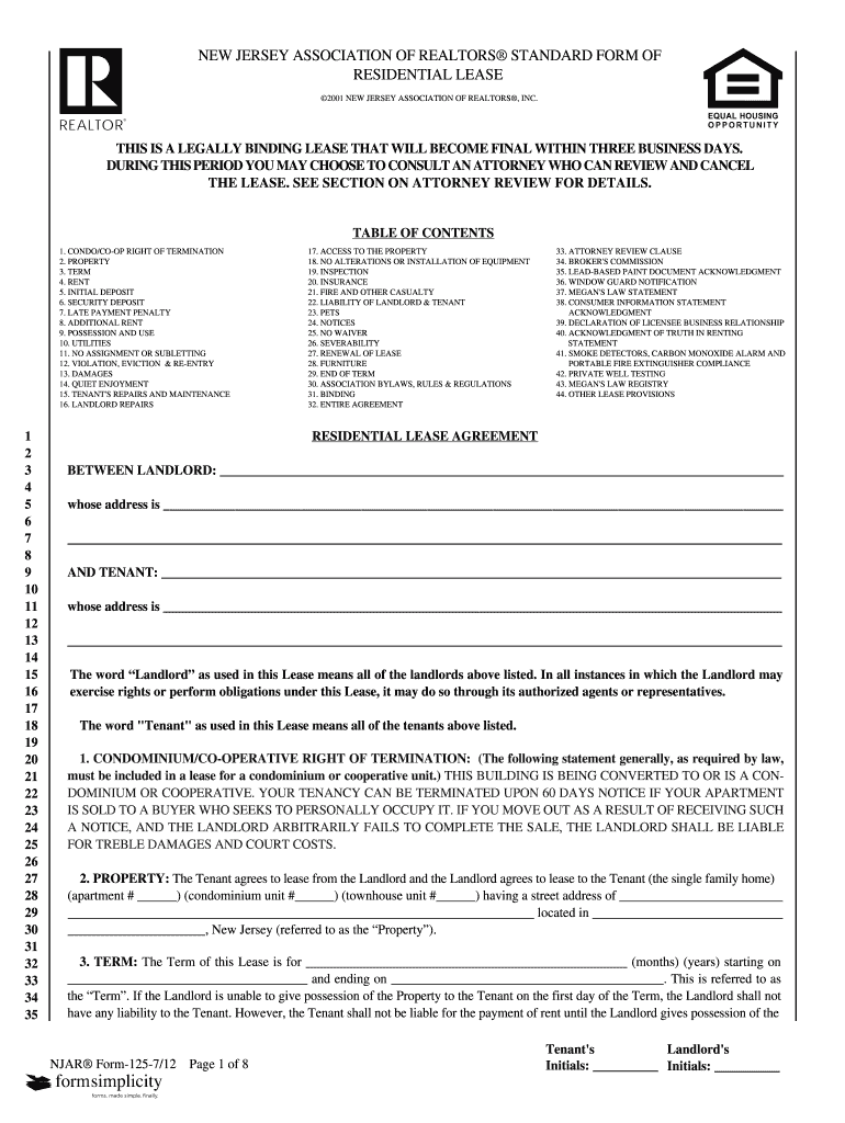New Jersey Realtors Standard Form Of Residential Lease