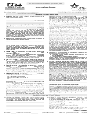 Texas apartment lease contract form