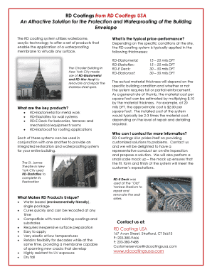 Product Brochure - RD Coatings USA