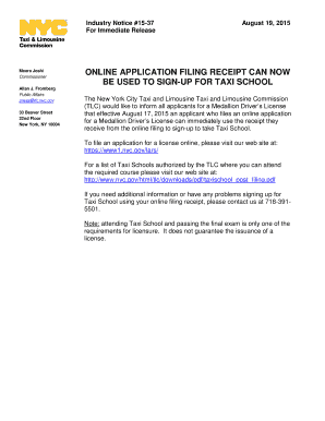 Online application filing receipt can now be used to sign-up for taxi - nyc