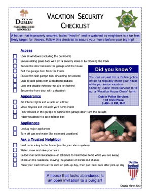 APPROVED Vacation Security Checklist