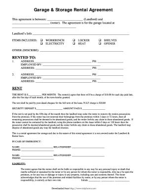 27 Printable Garage Storage Rental Agreement Forms and ...