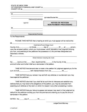 Notice Petition Non Payment - Fill Online, Printable, Fillable ...