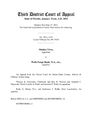 Vives v. Wells Fargo Bank, NA - Third District Court of Appeal - 3dca flcourts