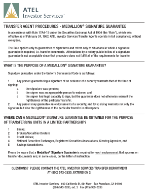 Medallion Signature Guarantee Application - Fill Online, Printable ...