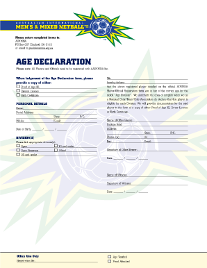 age declaration form fill online