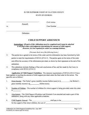 Modification Form For Child Support Clayton County Ga - Fill ...
