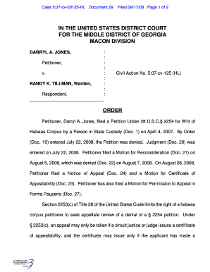 Case 5:07cv00125HL Document 29 Filed 09/17/08 Page 1 of 2 IN THE UNITED STATES DISTRICT COURT FOR THE MIDDLE DISTRICT OF GEORGIA MACON DIVISION DARRYL A - gpo