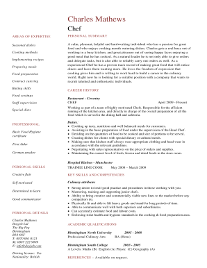 Fillable Online Chef Resume Template These Chef Resume