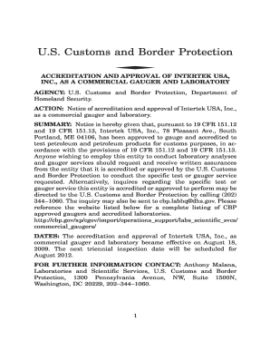 Customs and Border Protection ACCREDITATION AND APPROVAL OF INTERTEK USA, INC - cbp