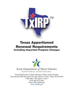Fillable Online txdmv TxIRP Renewal Instruction Booklet - Texas Department of Motor ... - txdmv Fax Email Print - PDFfiller