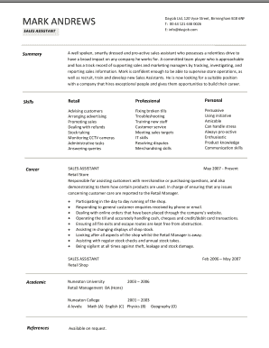 resume for retail sales assistant download sample resume for
