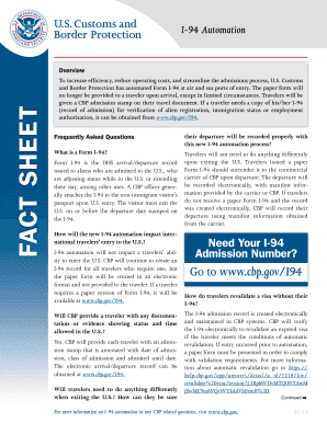 I-94 Automation Fact Sheet. I-94 Automation - cbp
