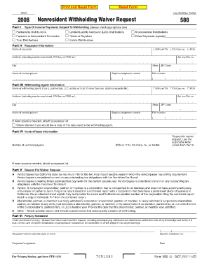 Fillable Online ftb ca 2008 Form 588 - Nonresident Withholding ...