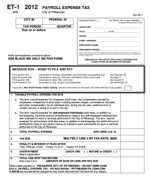 2012 Form PA ET-1 - Pittsburgh Fill Online, Printable, Fillable ...