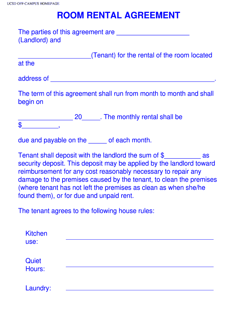 Room Rental Agreement Fill Online Printable Fillable