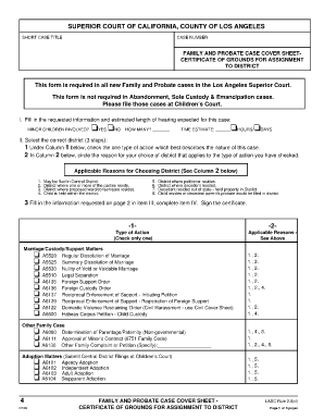 los angeles superior court probate 20 cover sheet form