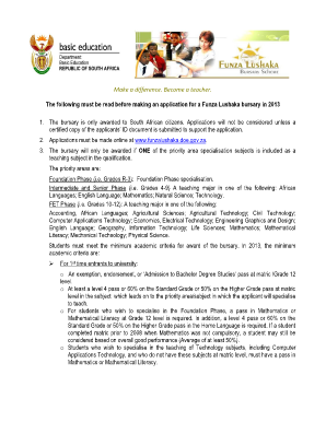 funza lushaka bursary application form 2016 pdf