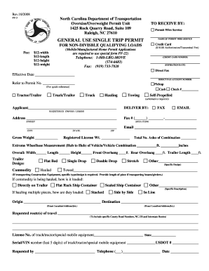 nc general use single trip permit application for non divisible qualifying loads pf 3 pdf