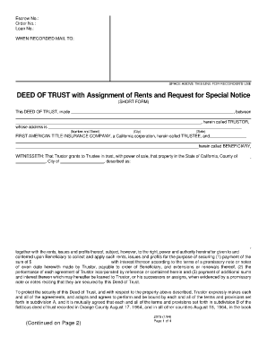 deed of trust with assignment of rents and request for special notice pdf form