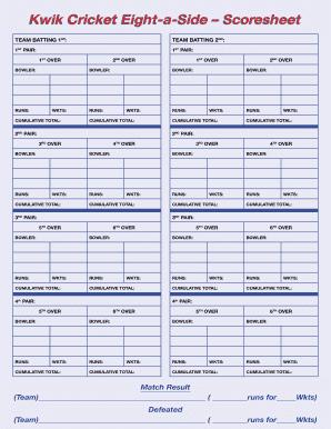 Fillable cricket score sheet excel spreadsheet - Edit, Print