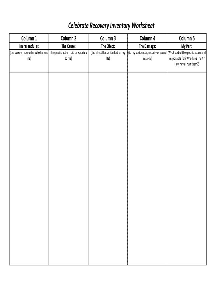 Celebrate Recovery Inventory Worksheet Fill Online
