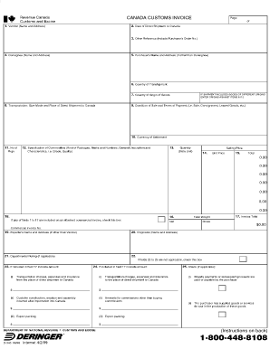 department of national revenue customs and excise canada customs, Invoice templates
