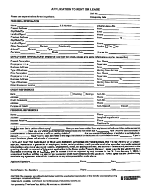 application for rent form
