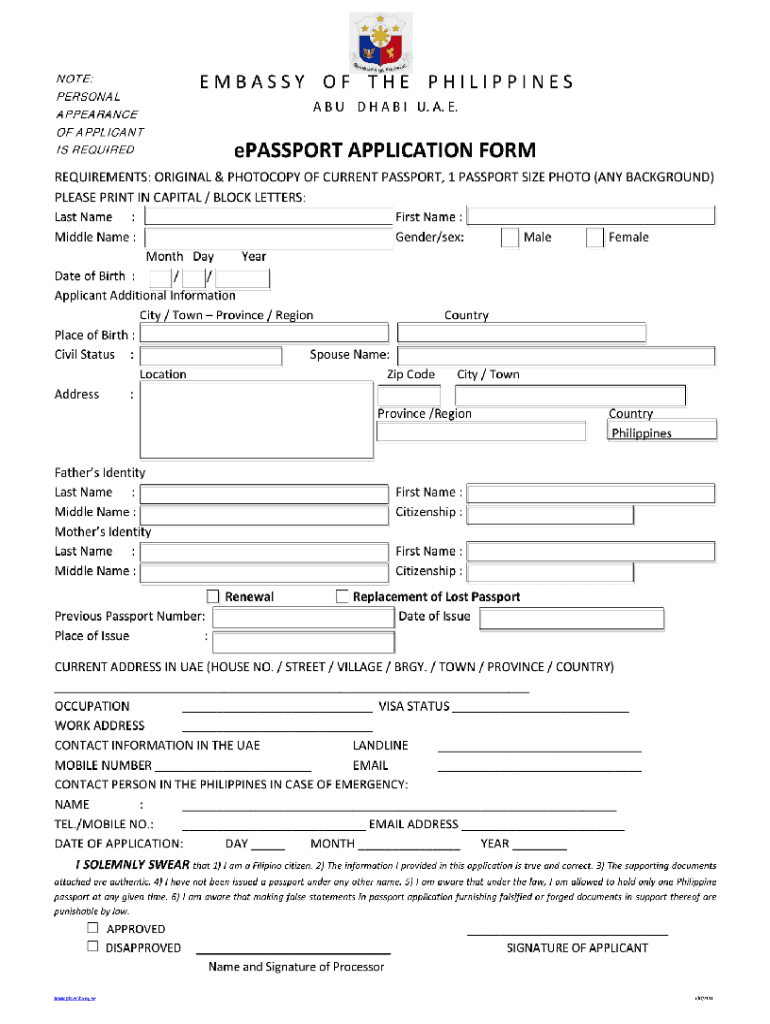 E Passport Application Form Fill Online Printable Fillable Blank Pdffiller