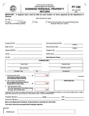 2012 Form SC DoR PT-100 Fill Online, Printable, Fillable, Blank ...