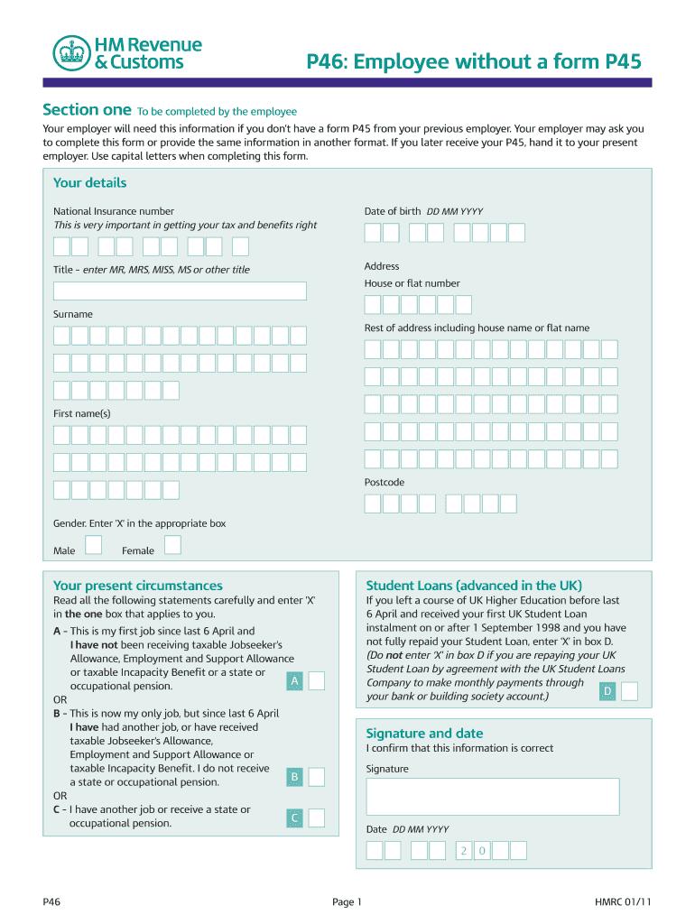 P46 Form Fill Online Printable Fillable Blank Pdffiller