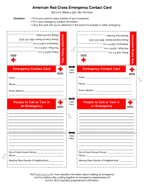 Emergency Card Form Employee Contact