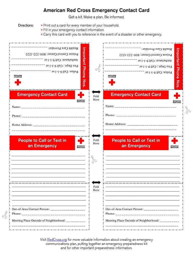 Printable Emergency Card Template Fill Online Printable