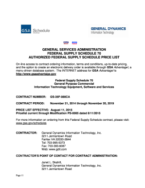 Fillable Online GSA Approved Price List - General Dynamics