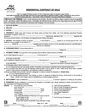 Bill Of Sale Form Maryland Residential Contract Of Sale